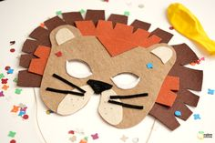 mandy -- we could make it with paper- DIY Felt Lion Mask Tutorial with FREE Template Lion Party, Lion King Party, Felt Diy, Felt Crafts, Costume Lion, Diy For Kids, Crafts For Kids, Diy Pour Enfants, Lion Mask