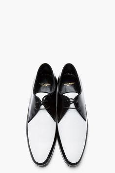 SAINT LAURENT Black & White Microperforated Blake 20 Derby Flats
