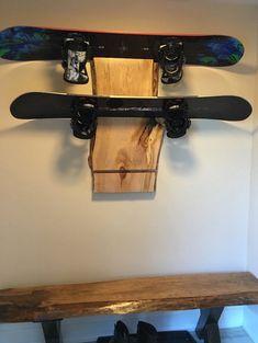 Live Edge Wood Slab Snowboard Rack Snowboard by TreeGreenTeam.com