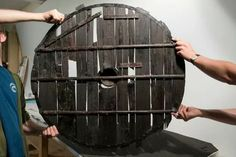 The Gotland shield, grommet and slats on its sides were added in the century to keep the boards together. Viking Shield Design, Viking Reenactment, Viking Clothing, Viking Art, Anglo Saxon, Larp, Middle Ages, Swords, Celtic