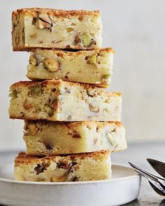 Blondies with Salted Pistachios & Lemon