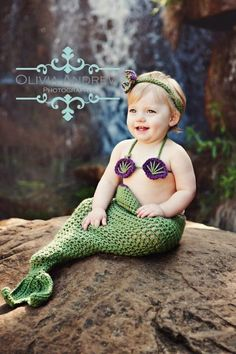 Little Mermaid crochet set Pattern -- This pattern includes newborn - 24 Month Sizes
