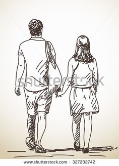Walking couple back view Vector sketch Hand drawn illustration - stock vector Road Drawing, Back Drawing, Couple Sketch, Couple Drawings, Couple Illustration, Hand Illustration, Painting People, Drawing People, Cool Sketches