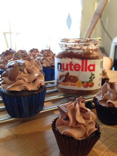 Mmm...chocolate cupcakes with Nutella frosting