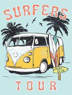 Vintage Retro Größe Kunstdruck Poster Malerei Vw Van Surfers Surfen Tour - Saving our pink bathroom - Retro Surf, Surf Vintage, Vintage Surfing, Retro Vintage, Retro Print, Vintage Kitchen, Vans Surf, Style Surf, Surf Drawing