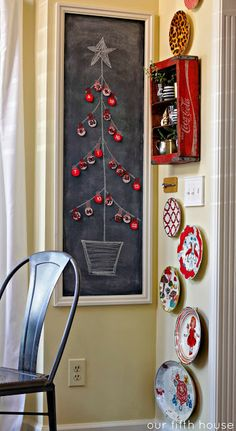 Small space DIY Christmas tree ideas // crafty advent calendar on chalkboard Small Christmas Trees, Christmas Tree Themes, Christmas Mood, Christmas Traditions, Christmas Activities, Christmas Crafts, Holiday Decor, Christmas Ideas, Christmas Card Display