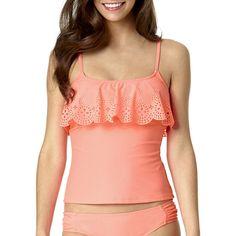 Arizona Peek-A-Boo Lasercut Flounce Tankini Swim Top - Juniors ($20) ❤ liked on Polyvore featuring swimwear, bikinis, bikini tops, flounce swim top, swim tops, tankini top, flutter bikini top and tankini swimsuit tops