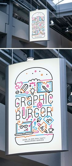 """Indoor Advertising Poster MockUp Freebies Ad Advertising Display Free Graphic Design MockUp Poster Presentation PSD Resource Showcase Template """"the way you create your burger is by doing it graphically which is pretty dope"""" Logo Design, Graphic Design Typography, Design Art, Print Design, Design Brochure, Menu Design, Stationery Design, Flyer Design, Dm Poster"""