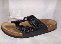 BETULA WOMANS BLACK DOUBLE STRAP METALLIC BUCKLE SIZE 8/39 #Betula #SportSandals #Casual