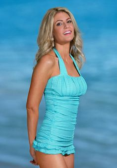 Open Back Ruched Halter in Aqua Stripe from Divinita Sole Swimwear by DM Fashion #RetroSwim #SwimDress