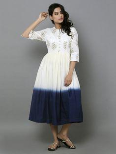 Off White Indigo Cotton Ombre Midi Dress