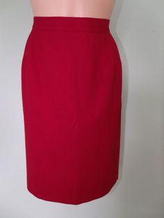 Liz Claiborne Petites Size 10P Lined Red 100% Wool Knee Length A-Line Skirt EUC #LizClaiborne #ALine