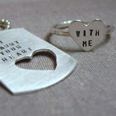 intertwine dog tag  and sterling silver HEART by SilverMadeStudio