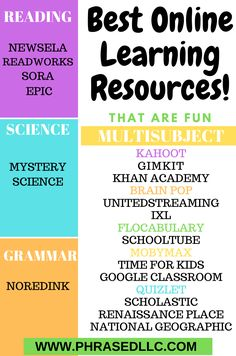 Fun Online Learning Resources divided by subjects: reading, science, grammar and multisubject. (In bright colors). Online Learning Sites, Educational Websites For Kids, Websites For Students, Learning Resources, Educational Technology, Educational Software, Educational Activities, Science Websites For Kids, Study Websites