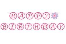 Ballerina Party Happy Birthday Ribbon Circle Banner. One Happy Birthday Banner is over 5 feet long with letters on a pretty satin pink ribbon. Beautiful! Find it at http://www.ezpartyzone.com/pd-ballerina-party-happy-birthday-ribbon-circle-banner.cfm