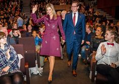 Queen Maxima wore Claes Iversen Sirius Coat at More Music in the Classroom lunch at Oosterpoort Center