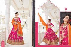Expressive Dark Pink and Orange Designer Lehenga | Add Share Sale