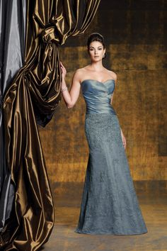 2012 Collection Blue Mermaid/Trumpet Sweetheart Floor Length Taffeta Lace