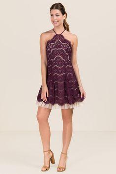 Rydel Y Neck Lace Tulle Hem A-line Dress - model