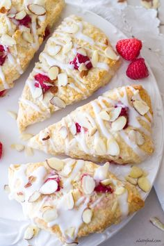 This homemade scone recipe is packed with sweet raspberries and almonds to make a delicious breakfast, brunch, or afternoon snack!