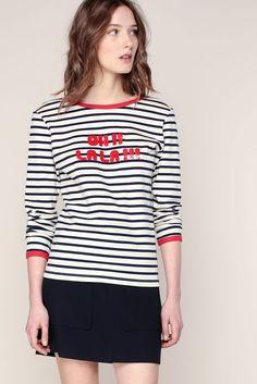 T-shirt écru rayé marine imprimé Oh La La rouge Mousse 1