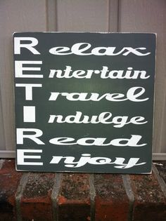 Retirement sign retirement gift subwayart wood by SimpleChicLiving, $25.00