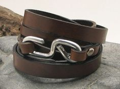 FREE SHIPPING .Men's leather bracelet.Brown flat leather wirstband wrap bracelet with hammered metal work infinity clasp