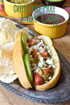 Green Chile Mole Hot Dogs | ASpicyPerspective.com  *replace with Smart Dogs*