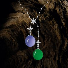 IMPRESSIVE PAIR OF JADEITE, ICY LAVENDER JADEITE, COLOURED DIAMOND AND DIAMOND PENDENT EARRINGS / RING / PENDENT NECKLACE, ALESSIO BOSCHI