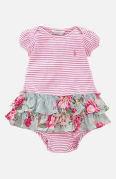 Ralph Lauren Stripe Dress & Bloomers (Infant) Resort Rose Multi