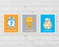 Star Wars pépinière Art Print. R2-D2 Robots de par waiwaiartprints
