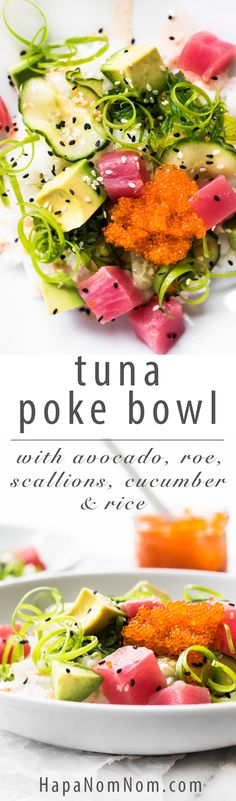 Light, refreshing Avocado Tuna Poke Bowl - loaded with healthy ingredients and complimenting flavors and textures! There's a lot going on in one little bite!