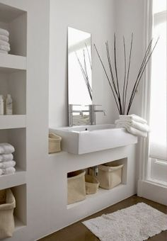 Love this bathroom, white with heaps of storage