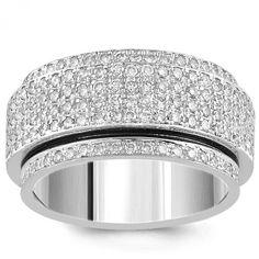 18K White Solid Gold Diamond Mens Swivel Eternity Wedding Ring Band 4.00 Ctw