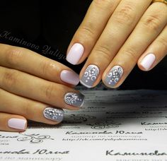 Like the pink color, maybe with something else, don't care for jewels on nails. Beautiful nails 2016, Cool nails, Fall nails 2016, Fashion autumn nails, Grey and pink nails, Manicure 2016, Nails for September 1, Nails trends 2016