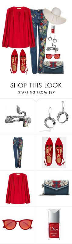 """Embroidered Jeans Look"" by romaboots-1 ❤ liked on Polyvore featuring John Hardy, Topshop, Truffle, Michael Kors, Alexander McQueen, Ray-Ban, Christian Dior and Nine West"