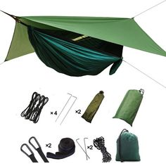 3 In 1 Camping Hammock with Mosquito Net - Lightweight 210t Nylon Rainfly Camping Hammock, Portable Hammock with Rain Fly Tarp for Indoor, Outdoor, Hiking, Camping, Backpacking, T Hammock Rain Fly, Hammock Tarp, Hammock With Mosquito Net, Portable Hammock, Hanging Hammock, Camping In The Rain, Outdoor Camping, Indoor Outdoor, Camping