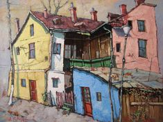 David Croitor, 1958 ~ Old street of Bucharest Street Painting, City Painting, Painting & Drawing, Urban Landscape, Landscape Art, Landscape Paintings, Flower Paintings, Landscapes, Flower Landscape