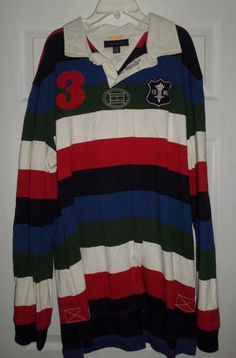 a6c4df09 Mens Red, Blue TOMMY HILFIGER Embroidered Long Sleeve Rugby Shirt, Size  XXL, GUC