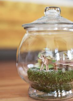 Make a winter woodland terrarium scene.