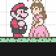 Mario and Peach pearler bead grid