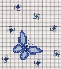 This Pin was discovered by Des Butterfly Cross Stitch, Cross Stitch Bird, Cross Stitch Animals, Cross Stitching, Cross Stitch Embroidery, Hand Embroidery, Cross Stitch Alphabet Patterns, Cross Stitch Designs, Graph Paper Art