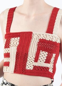 Rachel Comey Snapper Top - Red/Ivory on Garmentory Career In Fashion Designing, Intelligent Women, Creative Class, Crochet Magazine, Crochet Crop Top, Square Necklines, Rachel Comey, Fabric Material, Hand Knitting
