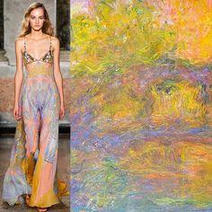 Left: Emilio Pucci S/S 2015. Right: Le Pont Japonais (1926), Claude Monet.