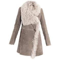 Closed Shearling coat ($1,511) ❤ liked on Polyvore featuring outerwear, coats, jackets, sheep fur coat, double breasted coat, oversized coat, toggle coat и brown shearling coat