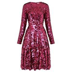 Sonic Dark Pink Sequin Dress | Clothing | L.K.Bennett ($730) ❤ liked on Polyvore featuring dresses, drape dress, long sleeve dress, purple cocktail dresses, long sleeve sequin cocktail dress and shimmer dress