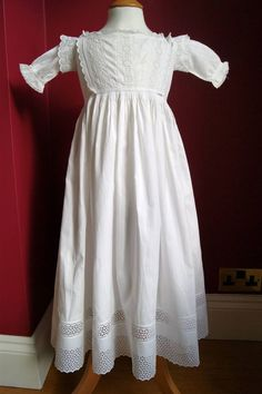 An antique Victorian white cotton baby robe (or christening dress).