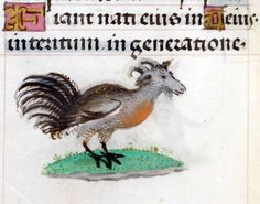 goat-headed rooster  'Hours of Joanna the Mad', Bruges 1486-1506.   BL, Add 18852, fol. 94v