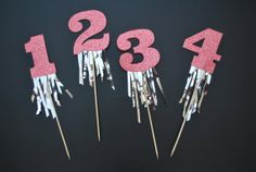 Glitter Number Birthday Cake Topper with Fringe by twinkleandtoast