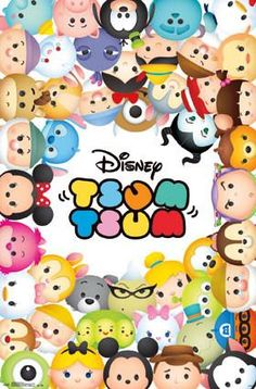 Cute Disney Tsum Tsum Wall Poster - Great addition to party decorations.